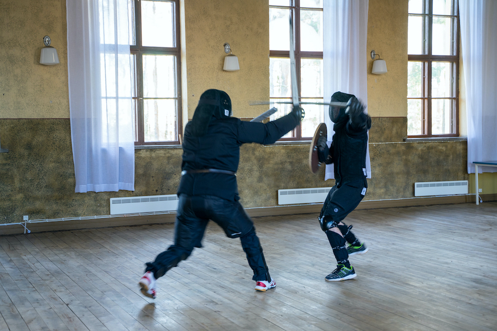 Fencing practice at The Tapaninlinna village hall, Ylistaro as..jpg