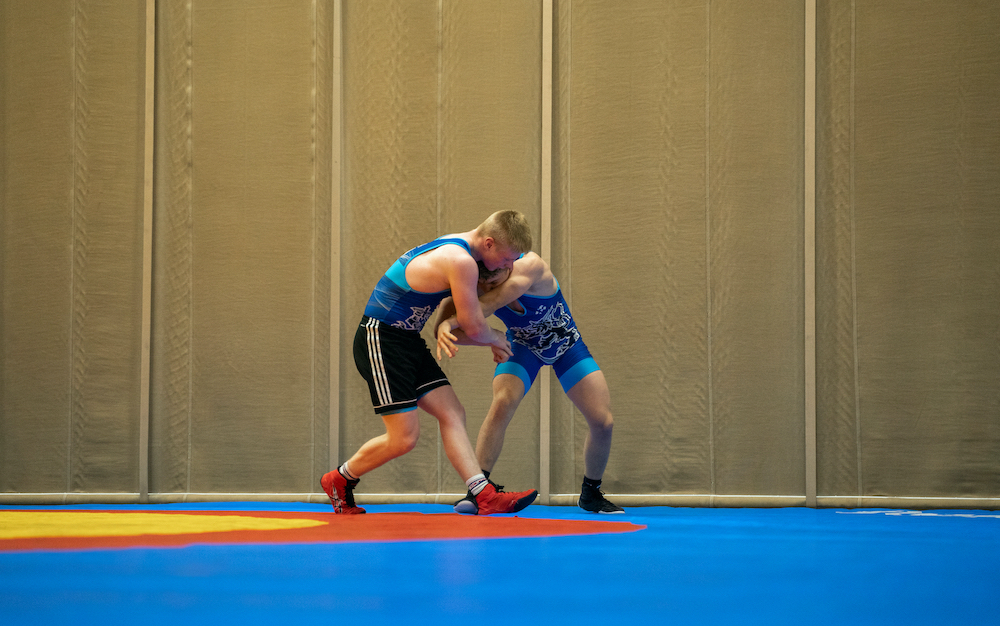 Wrestling practice at the school center, Ylistaro.jpg